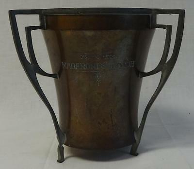 Vintage Macaroni & Dutch Copper/Pewter 1913 Wilcox 3 handled loving cup Art Deco