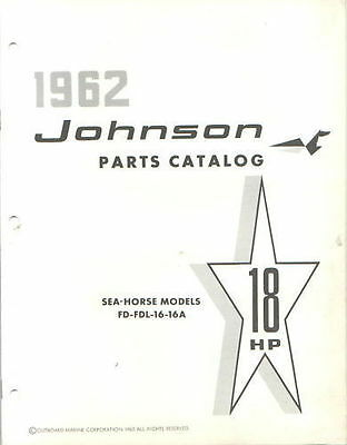 1962 Johnson 18 HP FD FDL 16 16a Outboard Parts Catalog