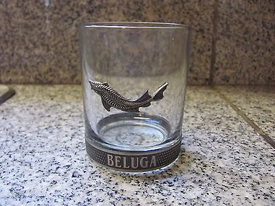 Highly Unusual Beluga ( Sturgeon ) Decorated Glass and Metal Drinking Glass