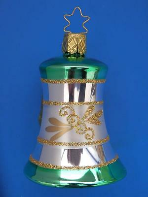 Inge Glas Green Gold Silv Bell Glocke German Blown Glass Christmas Tree Ornament