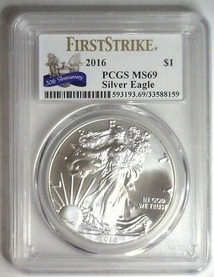 2016 American Silver Eagle ASE $1 First Strike 30TH ANNIVERSARY Label PCGS MS 69