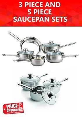Steel Saucepan Cookware Set Kitchen Frying INDUCTION BASED Pot Pan 3 or 5 Piece