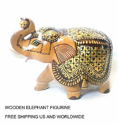 Elephant Figurine-Indian Elephant-from India Painted wooden-Gift-Collectible