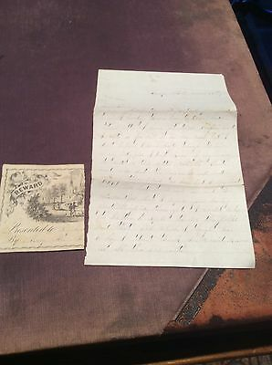 CIVIL WAR LETTER DATED 1865 CANDID INTERESTING SOLDIER With CUT REWARD CLIPPING