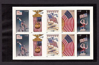 US 2003 Old Glory Flags 3780b booklet pane of 10 Stamps Scott # 3776 - 3780, MNH