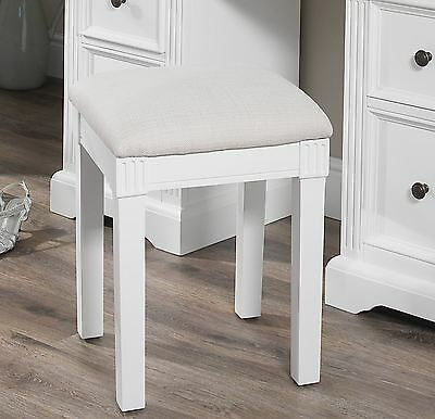 Gainsborough Upholstered Stool,white dressing table stool with cream padded seat