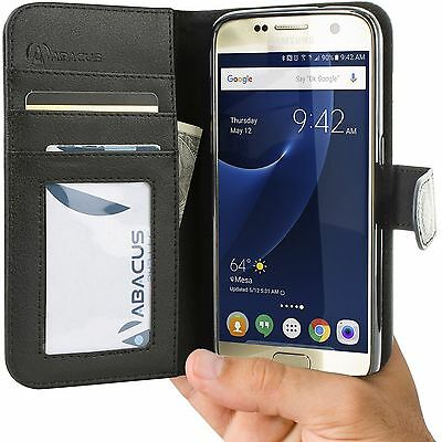 Black Wallet Flip Cover Case for Samsung Galaxy S7 Phone - Abacus24-7