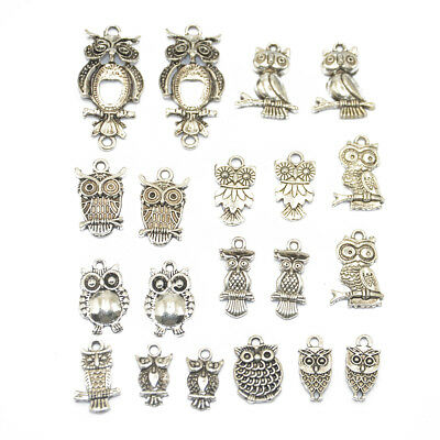 20x Mixed Tibetan Silver Owl Charms Pendants For Jewelry Making Craft DIY