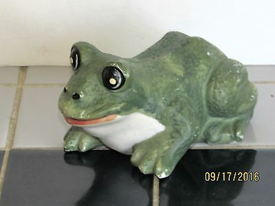 Collectible Ceramic Green With White Chest  Frog Figurine S