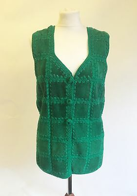 Vintage 60s 70s Green Suede Wool Patchwork Waistcoat Size 8 10 Hippy Boho