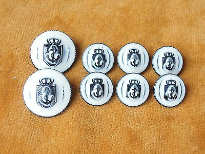 Set of 8 White/Black Metal ANCHOR Retro Blazer Buttons #622
