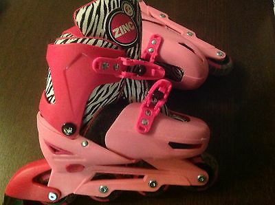 CHILDREN GIRLS PINK INLINE ZING ROLLER BLADES Adjustable Size 13 3 slightly used