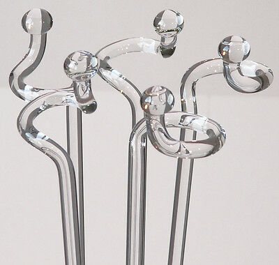 10 Orchid rods made of glass with ball Orchid rod 40 cm