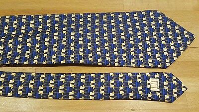 Dunhill mens silk tie navy blue gold chair print NEW architect designer gift