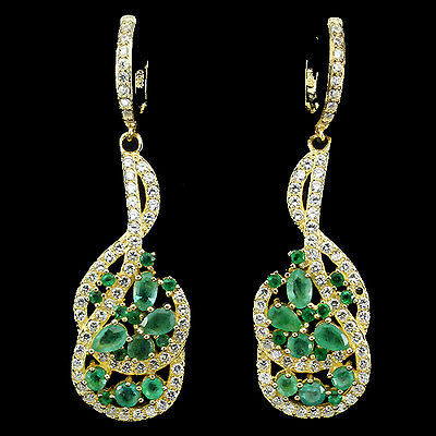 Elegant Natural Gem Top Rich Green Emerald,white Cz Sterling 925 Silver Earring