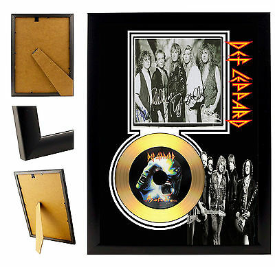 Def Leppard  - A4 Signed Framed Gold Vinyl Collectors Cd Display Picture