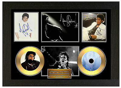 Michael Jackson - A3 Signed Framed Gold Vinyl Collectors Cd Display  Picture