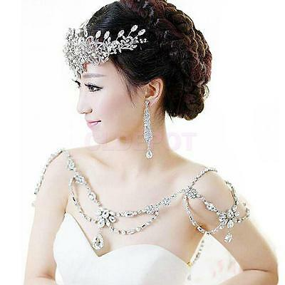 Wedding Jewelry Sets Crystal Necklace Shoulder Chain + Earrings for Women