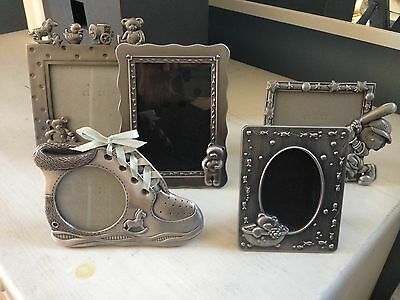 Vintage Silver/Pewter Picture Frames for Baby Lot of 5 Nursery Decor Teddy Bear