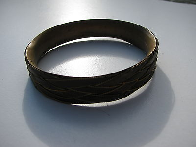 Antique Vtg.made In Austria Brass Delicate Wired Braided Leather Bangle Bracelet
