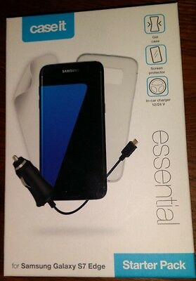 Samsung Galaxy S7 EDGE -Starter Pack-Gel case,screen protector & in-car charger