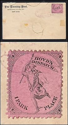 """BOYD'S DISPATCH"" 1c LOCAL N.Y. STAMP #20L56 (PINK) ON COVER, POSTMARKED 1882"