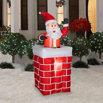 christmas animated santa  in  chimney 5ft airblown inflatable yard decor
