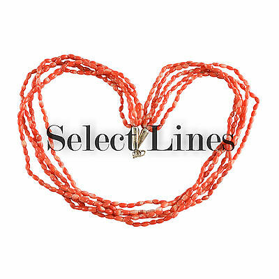 Sterling Silver Coral 5 Strand Rice Bead Necklace