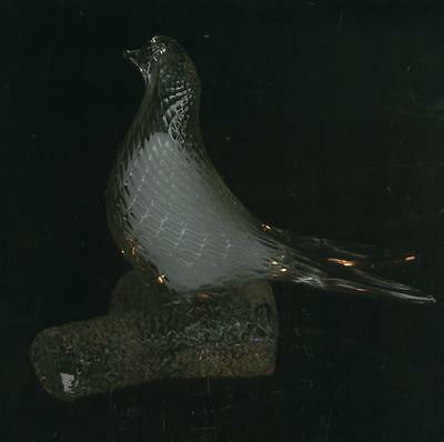 """VINTAGE 7"""" X  8"""" LARGE HEAVY CLEAR SOLID GLASS ART DECO Birds Dove Pigeon - RARE"""