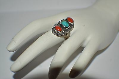 Vintage Old Pawn Turquoise & Coral Silver Ring Size 4
