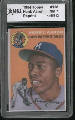 1954 Topps #128 Henry Hank Aaron Rookie Rc Rp Sp Rp Slabbed Near Mint Nm 7 Rare!