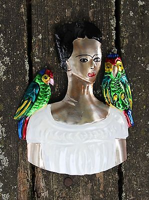 Mexican Folk Art from Oaxaca Tin Ornaments Milagros Frida Kahlo with her Parrots