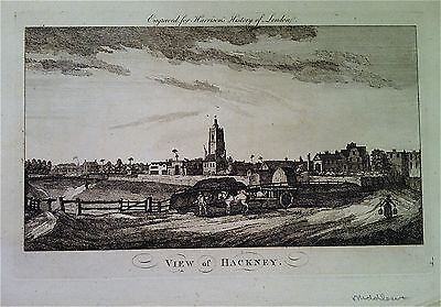 RARE VIEW OF HACKNEY,  antique copperplate engraving HARRISON'S LONDON c1775