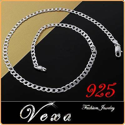 New Mens 925 Sterling Silver 20'' Necklace Curb Solid Link Chain 4mm UK NS01