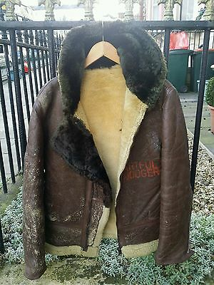 Interesting Vtg Military B3 Airforce Sheepskin Flying Flight Pilots Jacket.Small