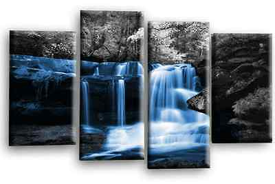 """Large Blue Grey Black White Waterfall Canvas Wall Art Picture Print 4 Panels 40"""""""