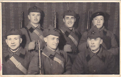 VERY RARE1920s Red Army Soldiers group photo with colts old Russian Soviet photo