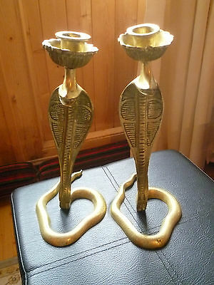 Antique Egyptian / Middle Eastern / Persian Heavy Brass Cobra Snake Candlesticks