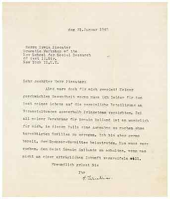 Albert Einstein WWII-Dated Typed Letter Signed - Honors Pacifist Romain Rolland