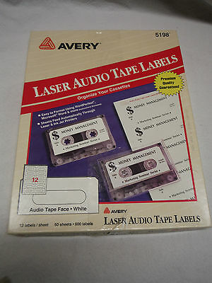 Avery Laser Audio Tape Labels #5198 49 Sheets 588 Labels