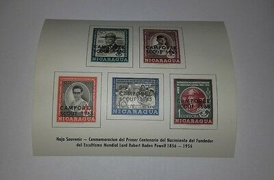 Nicaragua Camporee Scout 1965 Minisheet Of 5 Stamps Imperforated