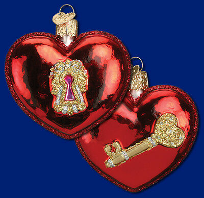 """""""Key to My Heart"""" (30031) Old World Christmas Glass Ornament"""