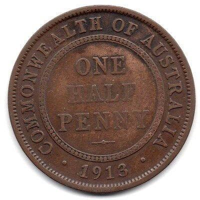 1913 AUSTRALIAN HALFPENNY (1/2d) -   *** USED/WORN CONDITION ***