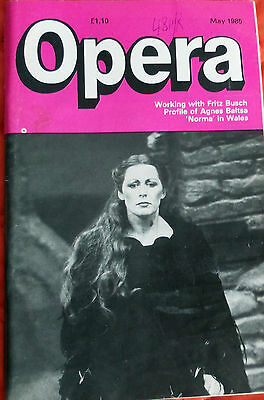 Opera Magazine, May 1985, Fritz Busch, Agnes Baltsa Profile,norma In Wales