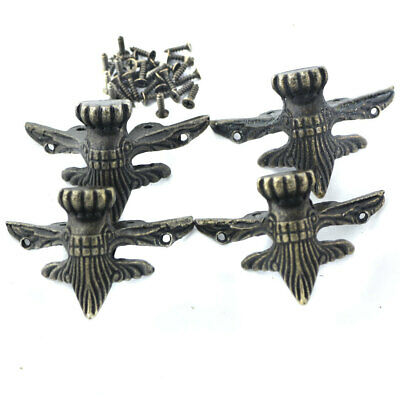 4Pcs Large Antique Bronze Corner Pad Decorative Guards With Mounting Screw