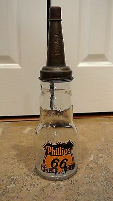 PHILLIPS 66 Embossed Glass Motor Oil Bottle with Metal Spout
