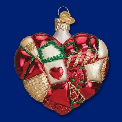 """Patchwork Heart"" (30040) Old World Christmas Glass Ornament"