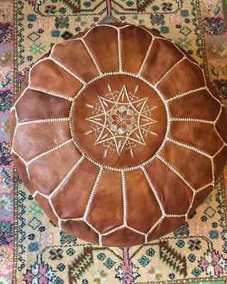 Large Handmade Leather Pouffe- Natural