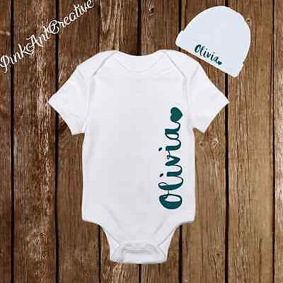 Personalized Name Cute Baby Girl Clothes Onesies with Hat / Beanie - Shower Gift