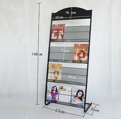 Multi-Layers Magazine Stands Brochure Holder Rack Display Office Home BLK wide